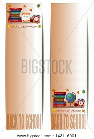 Two vertical banners with school supplies. Back to school. It's time to get knowledge. Vector illustration