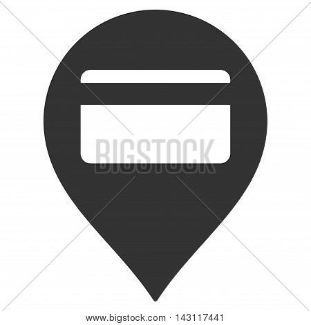 Credit Card Pointer icon. Vector style is flat iconic symbol with rounded angles, gray color, white background.