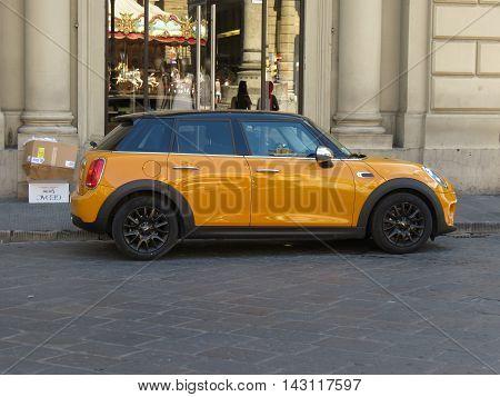 Yellow Orange Mini Cooper Car