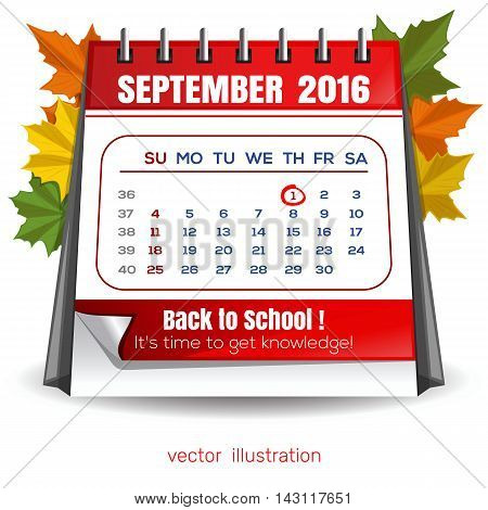 Calendar for September 1 2016. Knowledge Day. Back to school. Time knowledge. Vector illustration isolated on white background