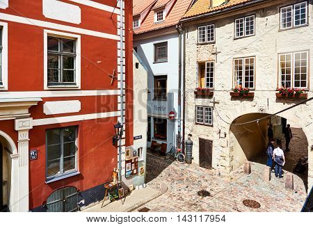 Riga Latvia - July 19 2016: Tourists walking in the old town of Riga. Northern Europe. Latvia