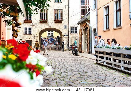 Riga Latvia - July 19 2016: Tourists in the old town of Riga. Northern Europe. Latvia