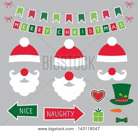 Santa Claus photo booth props (hats and beards)