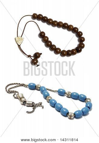 Greek Traditional Rosary On White Background