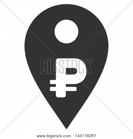 Rouble Map Marker icon. Vector style is flat iconic symbol with rounded angles, gray color, white background.