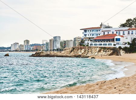 Coastline of Platja d'Aro is located in the heart of the Costa Brava 80 km north of Barcelona. Spain