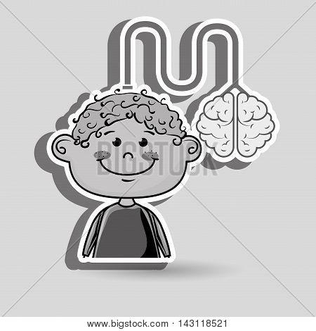 boy kid brain cable idea vector illustration graphic