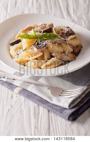 Italian Cuisine: Conchiglie With Porcini And Parmesan Close-up. Vertical