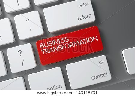 Business Transformation Concept: Metallic Keyboard with Business Transformation, Selected Focus on Red Enter Keypad. 3D.