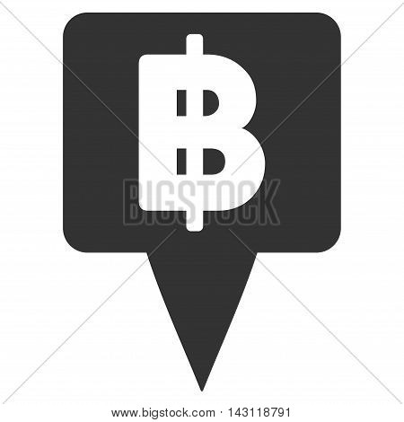 Thai Baht Map Pointer icon. Vector style is flat iconic symbol with rounded angles, gray color, white background.