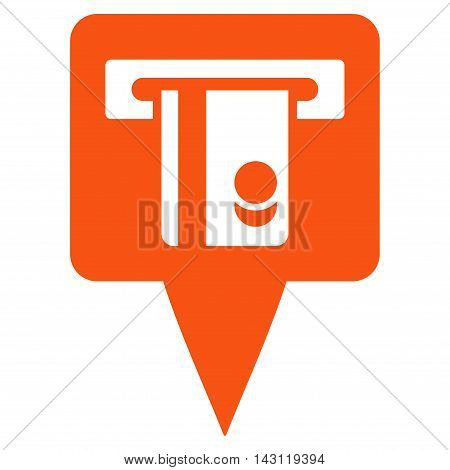 ATM Terminal Marker icon. Vector style is flat iconic symbol with rounded angles, orange color, white background.