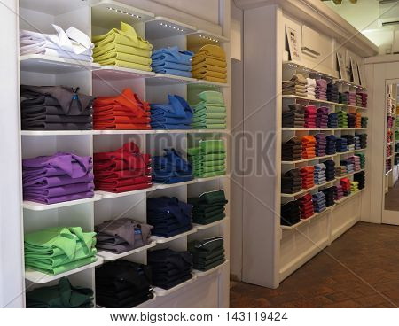 Polo Shirts On Display In A Store