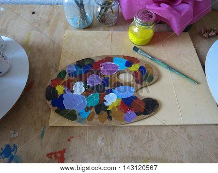 Oil Colours Palette In Siena