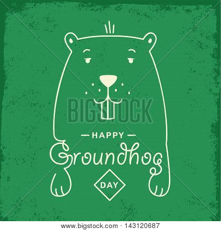 Happy Groundhog Day. Vector illustration with groundhog and lettering.