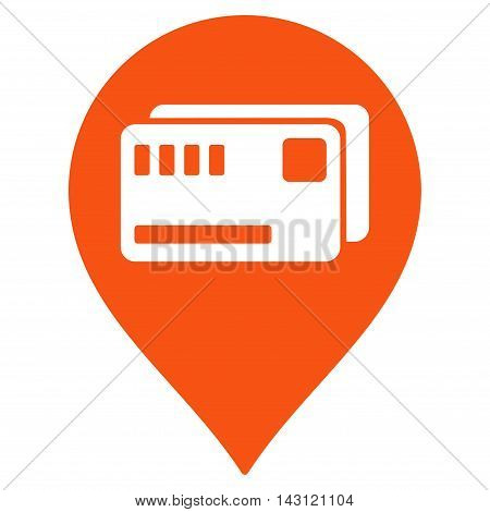 Tickets Map Marker icon. Vector style is flat iconic symbol with rounded angles, orange color, white background.