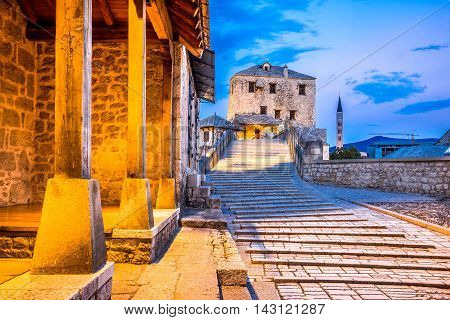 Mostar Bosnia and Herzegovina. The Old Bridge Stari Most with emerald river Neretva.