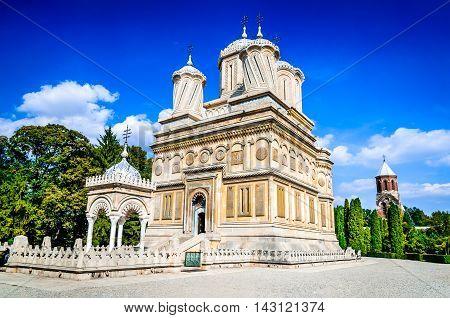 Romania. Curtea de Arges Monastery 16th century Wallachia landmark Romanian orthodox culture. Ana and Manole legend.