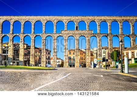 Segovia Spain. Town view at Plaza del Artilleria and the ancient Roman aqueduct Castilla y Leon