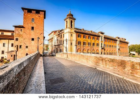 Rome Italy. Morning panoramic view to the Ponte Fabricio and Tiber Island which hosts the Fatebenefratelli Hospital