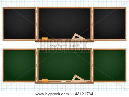 Three components chalkboard black and green. Back to school. Vector illustration