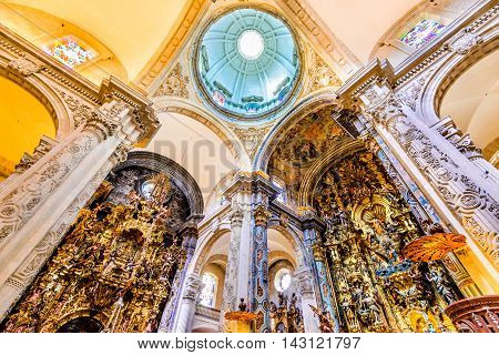 SEVILLE SPAIN - MAY 9 2016: Basilica and Dome in Church of El Salvador Iglesia de El Salvador Andalusia Seville Spain. Built in 1674 is the second largest church in Seville.