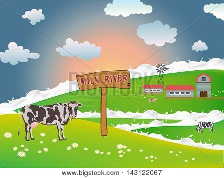 Dairy cows in a field near a farm on a background of the morning sun, milky river flowing through fields, Vector cows