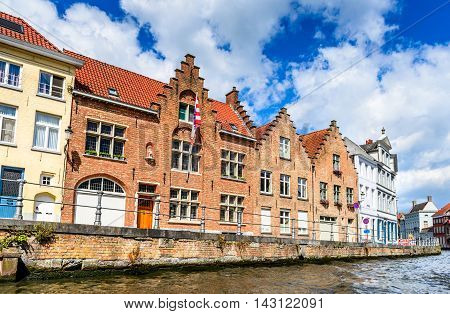 Bruges Belgium. Scenic city view of Brugge canal Spiegelrei with beautiful medieval houses and reflections Flanders