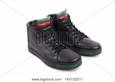 Pair Of New Black Leather High-top Sneakers