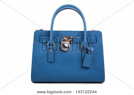 Blue Leather Women's Handbag On White Background