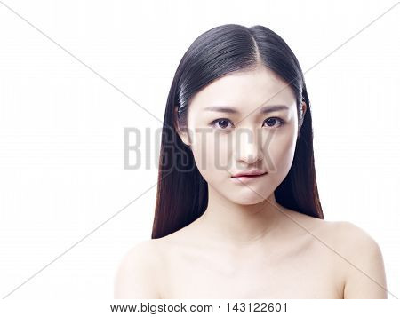 portrait of a young and beautiful asian girl isolated on white background.