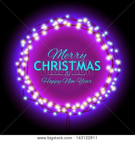 Round Frame with Glowing Lights, Garlands of with the words Merry Christmas.. Background on Sale, Discounts, Promotions in the Winter. Seasonal Advertising. Suitable for printing, mailing