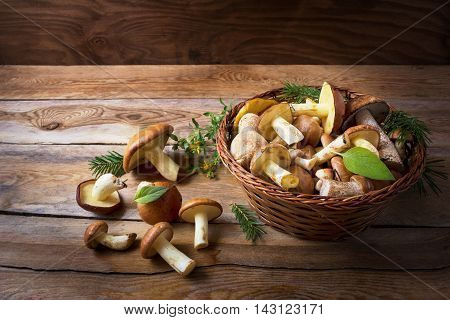 Basket with wild forest mushrooms on the rustic wooden background. Fresh raw mushrooms in the basket.