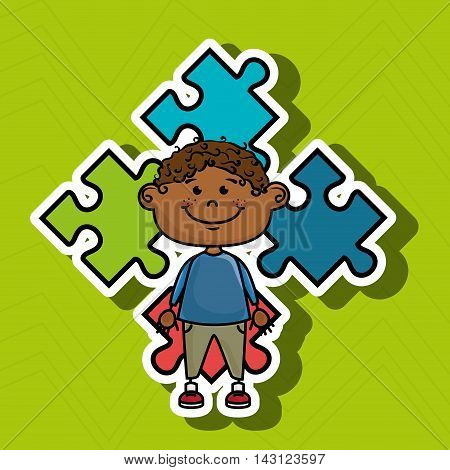 boy kids puzzle icon vector illustration graphic eps 10