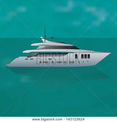 Luxurey private motor yacht  out at sea, vector illustration
