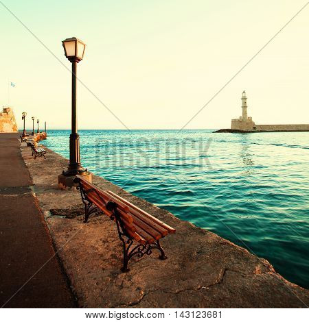 Chania lighthouse and promenade impressions of Greece