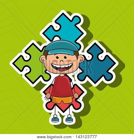 boy kids puzzle icon vector illustration graphic eps 10