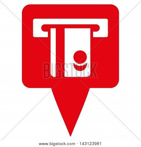 ATM Terminal Marker icon. Vector style is flat iconic symbol with rounded angles, red color, white background.