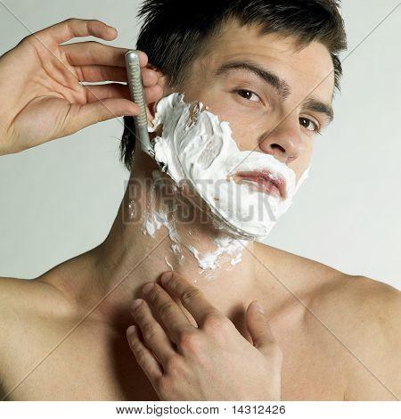 Portrait Of Shaving Man