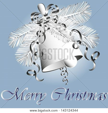 Christmas bell and fir tree image Vector illustration of Christmas bell and fir tree streamers and ribbon decoration, style  paper applique