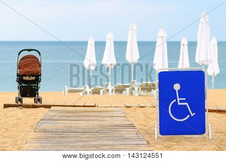Beach access for the disabled in the summer