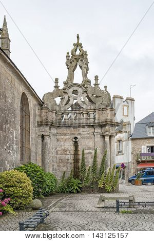 detail of a church in a town named Carnac in the Morbihan department in Brittany France