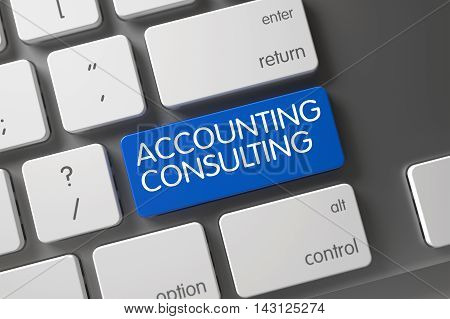 Accounting Consulting Concept Modern Keyboard with Accounting Consulting on Blue Enter Button Background, Selected Focus. 3D.