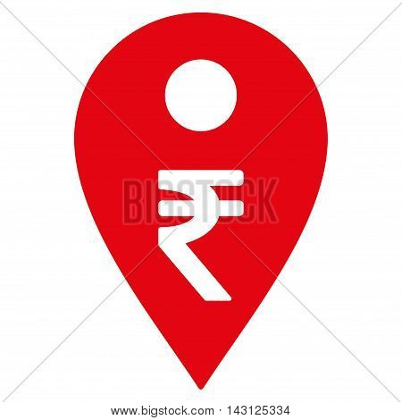 Rupee Map Marker icon. Vector style is flat iconic symbol with rounded angles, red color, white background.