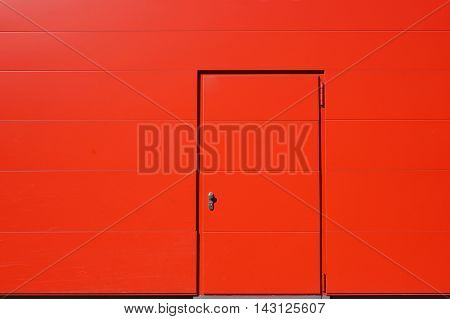 vibrant red exterior wall and door. background with copy space.