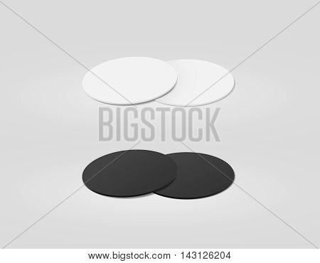 Stack of blank white and black textured beer coasters mockup clipping path 3d illustration. Round clear mug mat design mock up. Circle cup rug display 2 side set. Bottle plain coaster