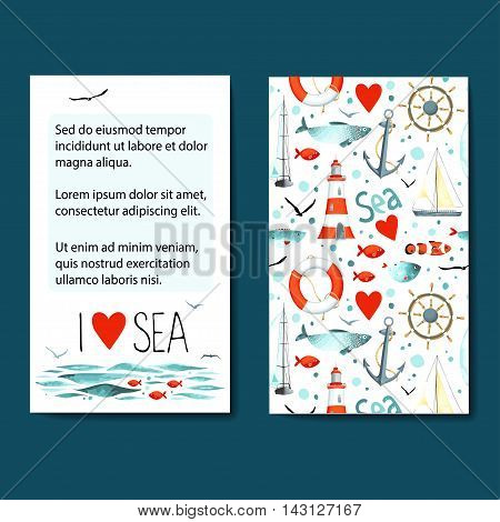 Set of 2 lovely cards templates with sea background. Vector illustration.