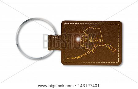 A brown leather key fob and ring over a white background with the text Alaska
