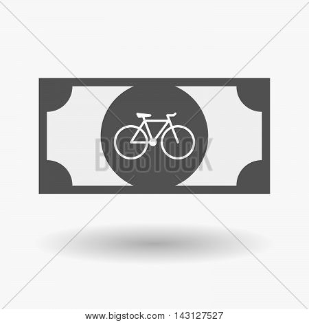 Isolated Bank Note Icon With A Bicycle