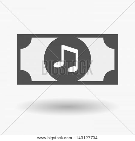 Isolated Bank Note Icon With A Note Music
