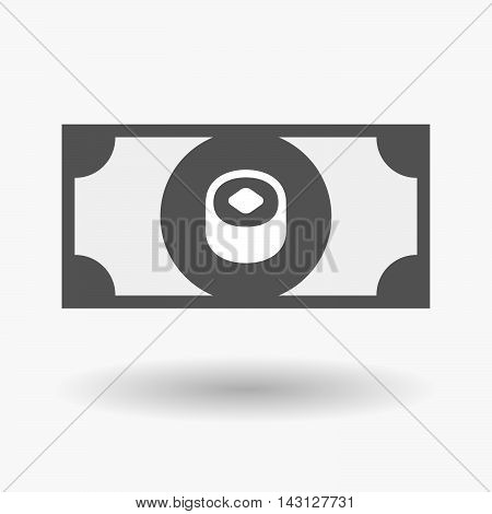 Isolated Bank Note Icon With A Piece Of Sushi